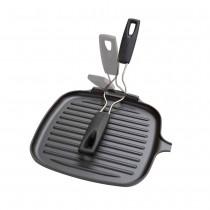 Parrilla grill cuadrada con mango abatible 24 cm negro