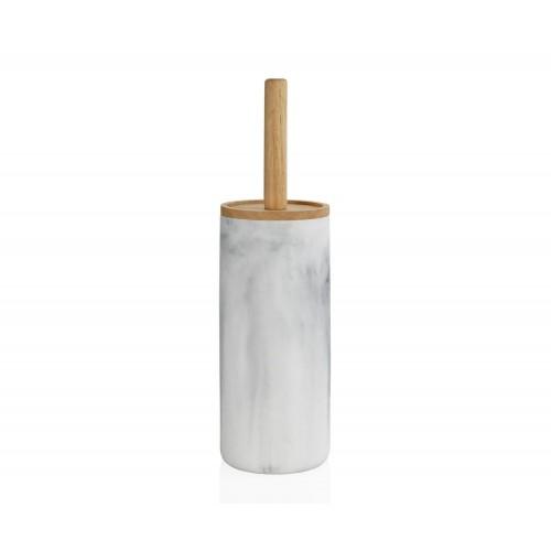 Escobilla de madera y efecto mármol blanco