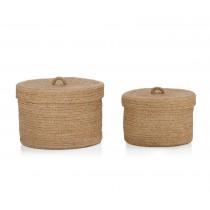 Set de 2 cajas de yute redondas