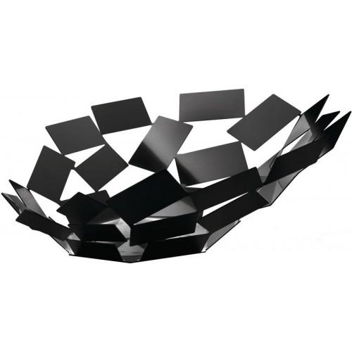 Centro de mesa en acero colorado con resina epoxidica, negro.